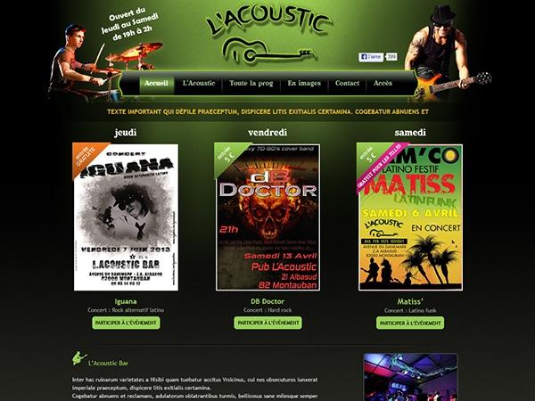 Graphiste freelance drupal création du site de l'Acoustic bar à Montauban 82