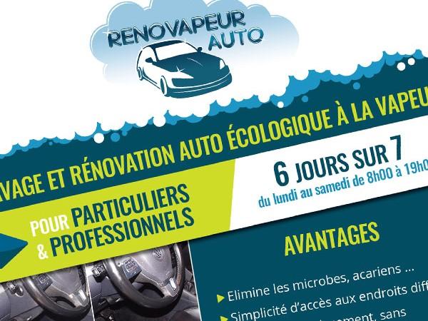 Réalisation de la maquette du flyer de Rénovapeur Auto à Montech