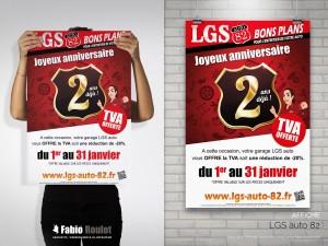 Flyer promotion pour les 2 ans du garage LGS auto à Caussade