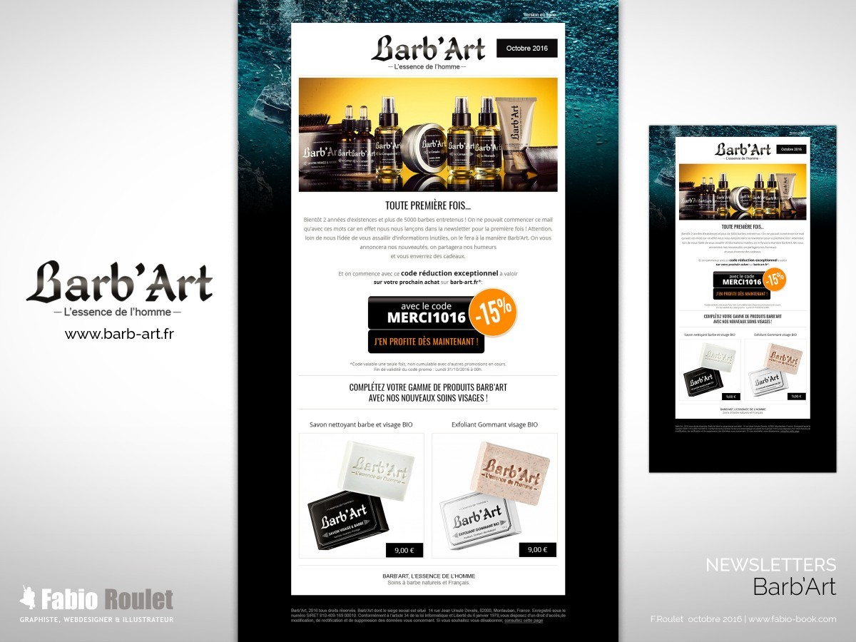 Webmarketing : Newsletter  Barb'Art octobre 2016