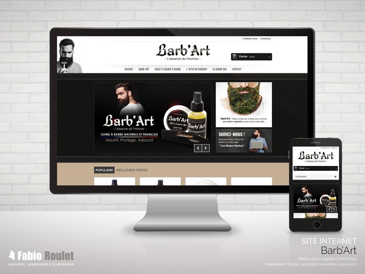 Site internet e-commerce de la boutique de soins à barbe Barb'Art - Thème prestashop