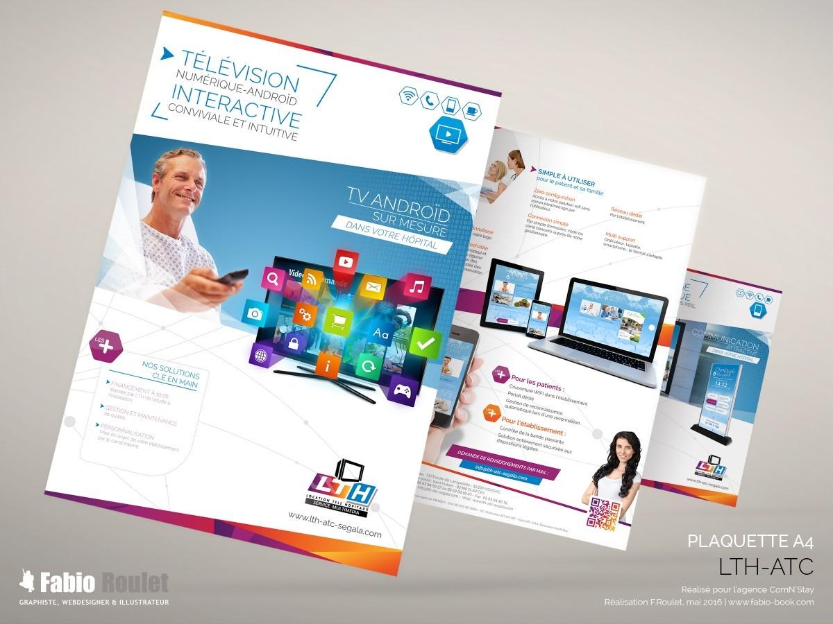 Print :  plaquettes commerciales A4 pour présenter les activités des sociétés LTH-ATC