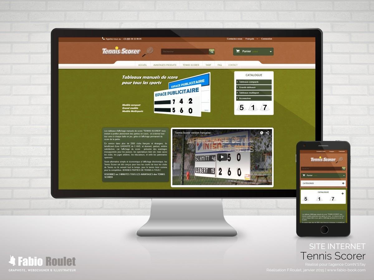 Site internet e-commerce de la boutique Tennis scorer